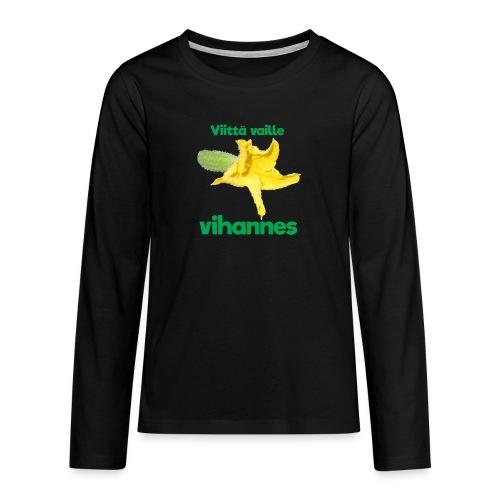 Viittä vaille vihannes, avomaankurkku - Teinien premium pitkähihainen t-paita