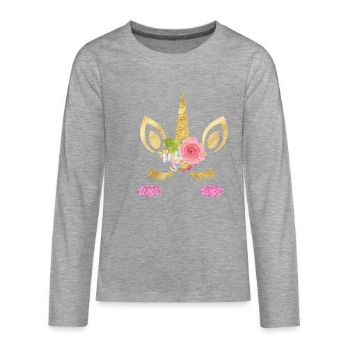 unicorn face - Teenager Premium Langarmshirt