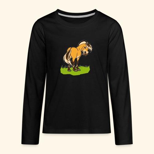 Freundliches Fjordpferd (Ohne Text) Weisse Umrisse - T-shirt manches longues Premium Ado