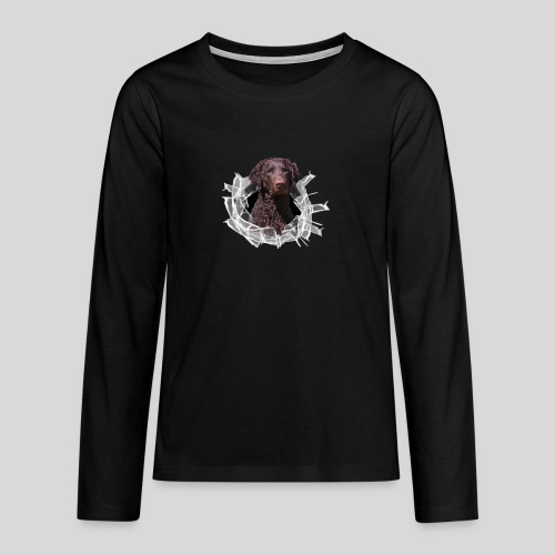 Curly Coated Liver im Glasloch - Teenager Premium Langarmshirt