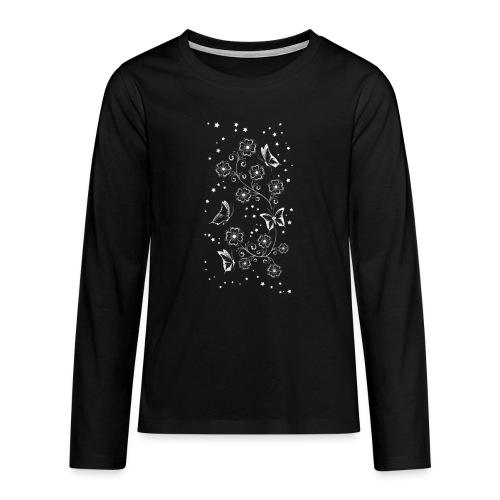 Floral and Butterflys_5_Shirt_Weiss - Teenager Premium Langarmshirt