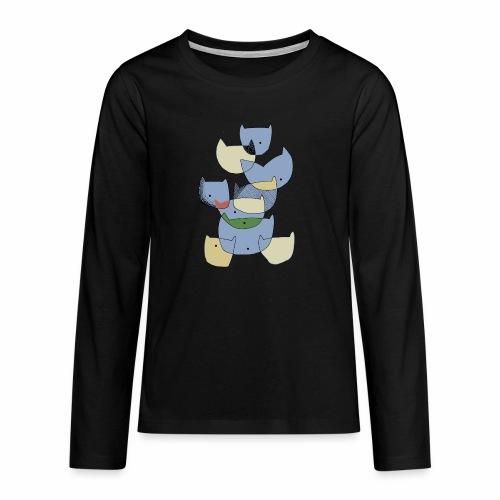 cats coloured - katten gekleurd - Teenager Premium shirt met lange mouwen