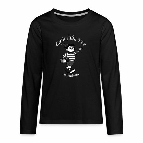 Cafe LillePer Logo BW - Teenager premium T-shirt med lange ærmer