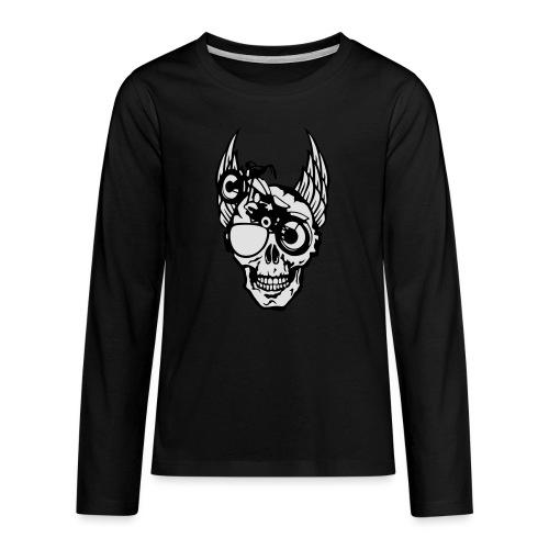 tete mort moto skull aile motard oeil - T-shirt manches longues Premium Ado