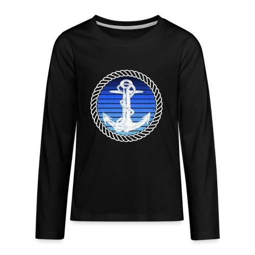 Anker maritimer Retrokreis Geschenkidee - Teenager Premium Langarmshirt