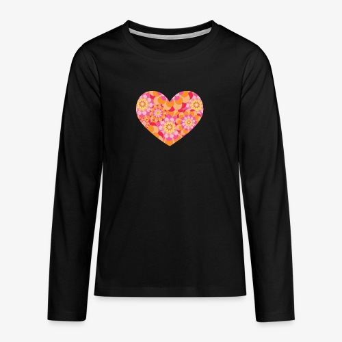 Floral Hearts - Teenagers' Premium Longsleeve Shirt