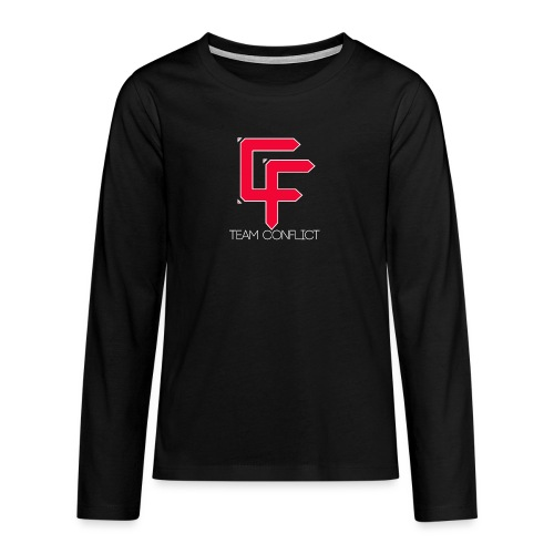 CF Final White Border t shirts with text thin whit - Teenagers' Premium Longsleeve Shirt