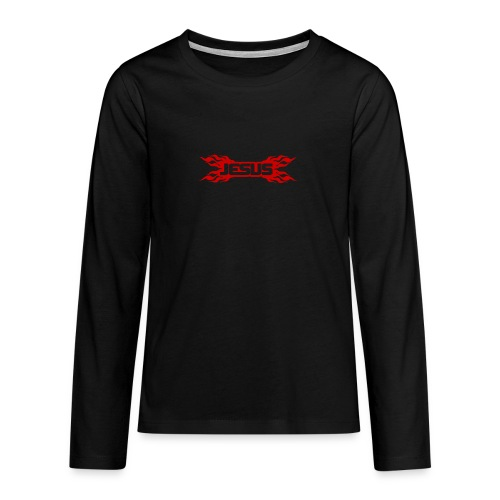 Flaming Jesus Logo 01 - Teenagers' Premium Longsleeve Shirt
