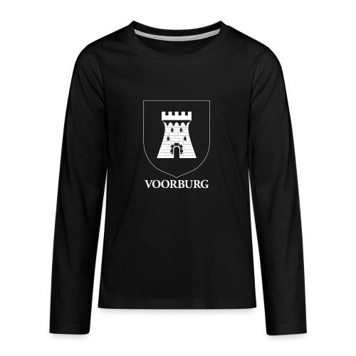 Voorburg wapen diapositief wit - Teenager Premium shirt met lange mouwen