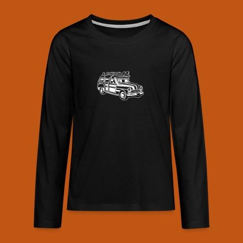 Chevy Cadilac Woodie / Oldtimer Kombi 01_weiß - Teenager Premium Langarmshirt