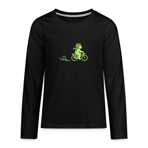 Züri-Leu beim Velofahren ohne Text - Teenager Premium Langarmshirt