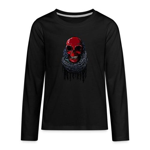 RED Skull in Chains - Teenagers' Premium Longsleeve Shirt