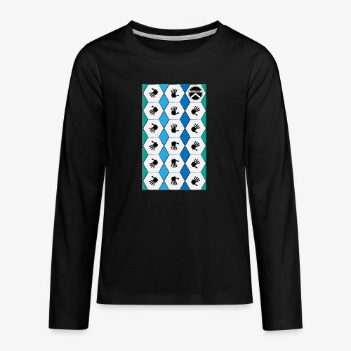 |K·CLOTHES| HEXAGON ESSENCE BLUES & WHITE - Camiseta de manga larga premium adolescente
