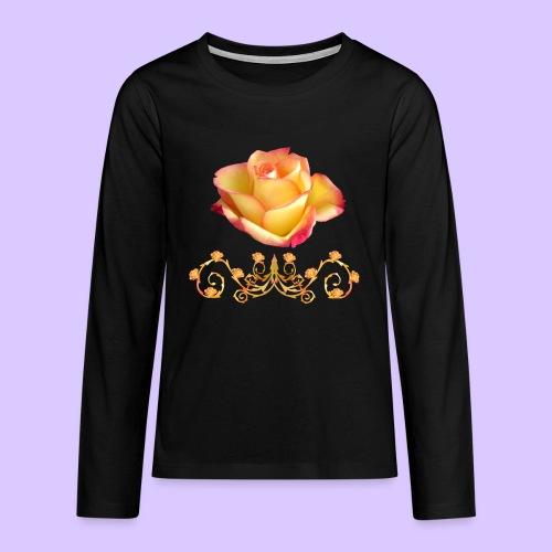 orange Rose, Ornament, Rosen, Blumen, Blüten, edel - Teenager Premium Langarmshirt