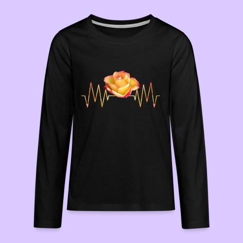 Rose, Herzschlag, Rosen, Blume, Herz, Frequenz - Teenager Premium Langarmshirt