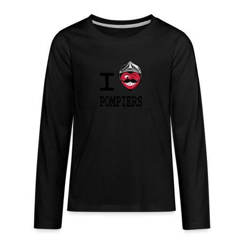 i_love_pompier_4 - T-shirt manches longues Premium Ado