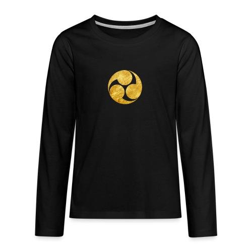Kobayakawa Mon Japanese clan gold on black - Teenagers' Premium Longsleeve Shirt