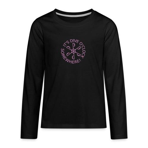 diveoclocklogodlpink png - Teenagers' Premium Longsleeve Shirt