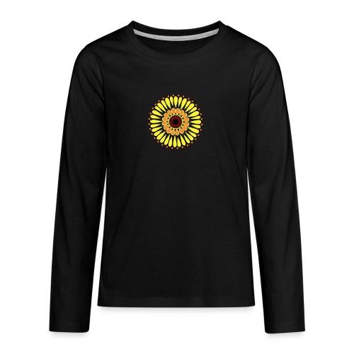 Yellow Sunflower Mandala - Teenagers' Premium Longsleeve Shirt