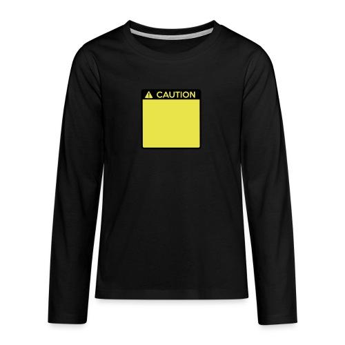 Caution Sign (2 colour) - Teenagers' Premium Longsleeve Shirt