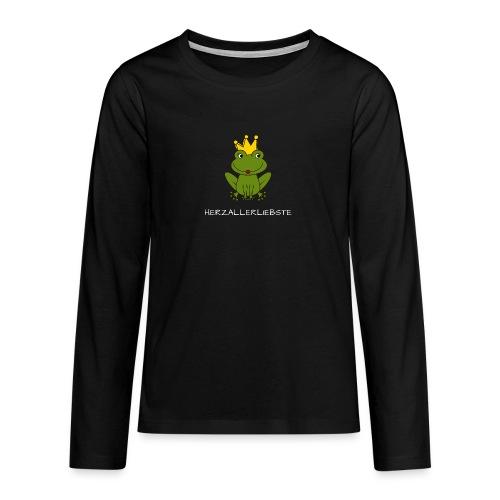 Froni mit Schriftzug Herzallerliebste (weiß) - Teenager Premium Langarmshirt