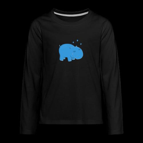 Kleines blaues Nilpferd - Teenager Premium Langarmshirt