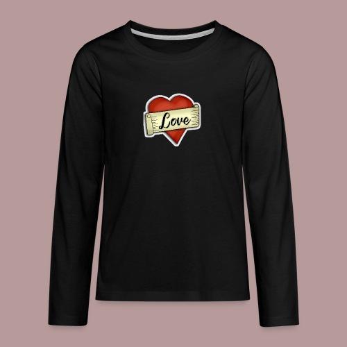 Love cœur tatouage - T-shirt manches longues Premium Ado