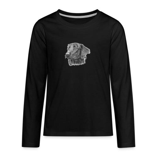 flatcoated retriever bw - Teenager premium T-shirt med lange ærmer