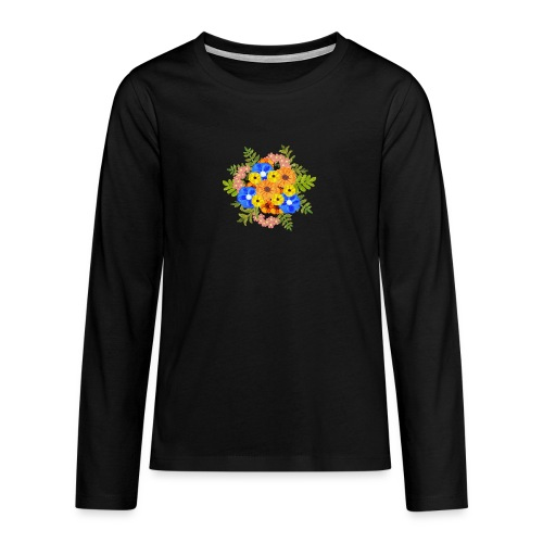 Blue Flower Arragement - Teenagers' Premium Longsleeve Shirt