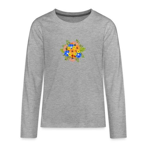 Blue Flower Arragement - Teenagers' Premium Longsleeve Shirt