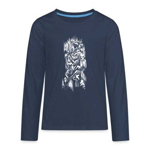 Samurai / White - Abstract Tatoo - Teenagers' Premium Longsleeve Shirt