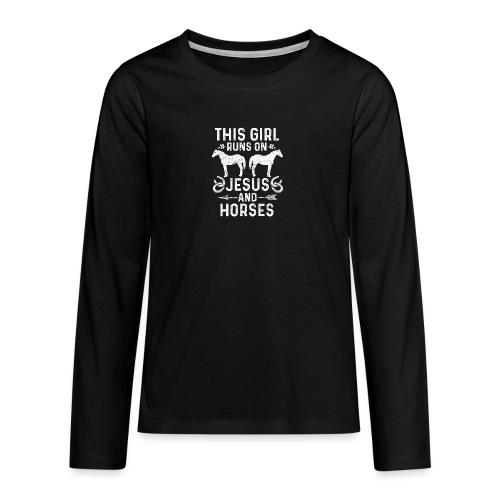 Pferde und Jesus lieben Christliches Tshirt - Teenager Premium Langarmshirt