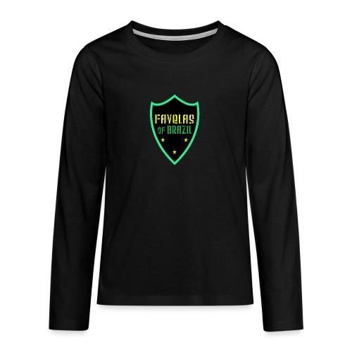 FAVELAS OF BRAZIL NOIR VERT DESIGN - T-shirt manches longues Premium Ado