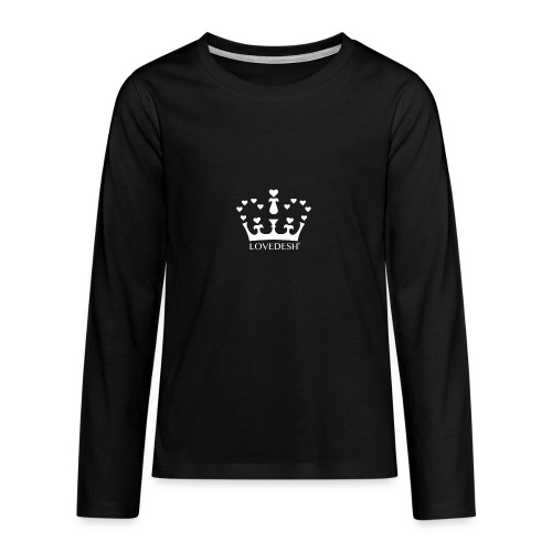 White Lovedesh Crown, Ethical Luxury - With Heart - Teenagers' Premium Longsleeve Shirt