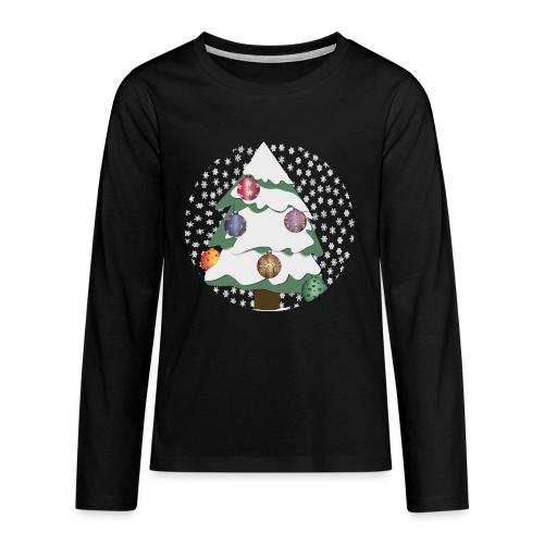 Christmas tree in snowstorm - Teenagers' Premium Longsleeve Shirt