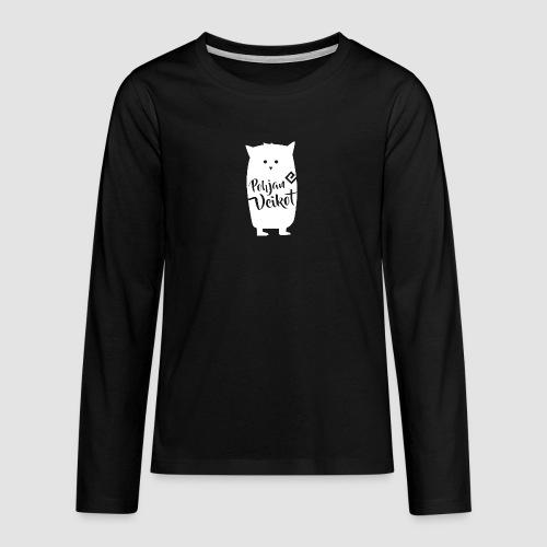 Veikko-pöllö valkoinen - Teinien premium pitkähihainen t-paita