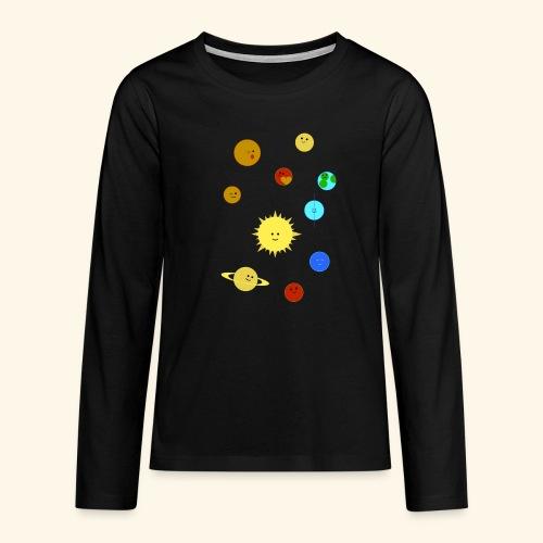 Solsystem svart - Långärmad premium T-shirt tonåring