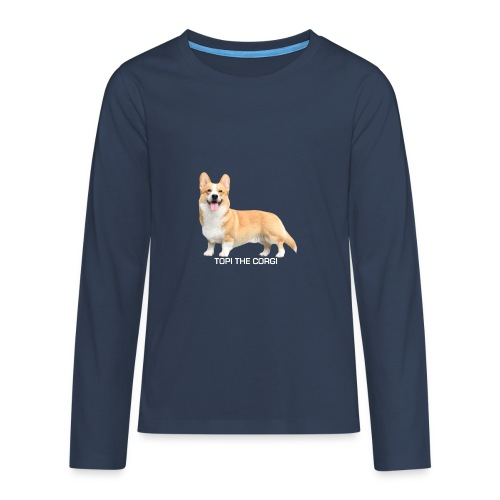 Topi the Corgi - White text - Teenagers' Premium Longsleeve Shirt