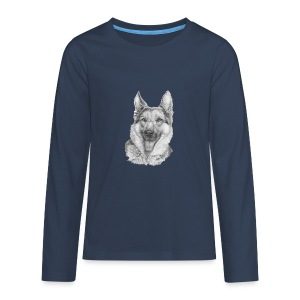 Schæfer German shepherd - Teenager premium T-shirt med lange ærmer