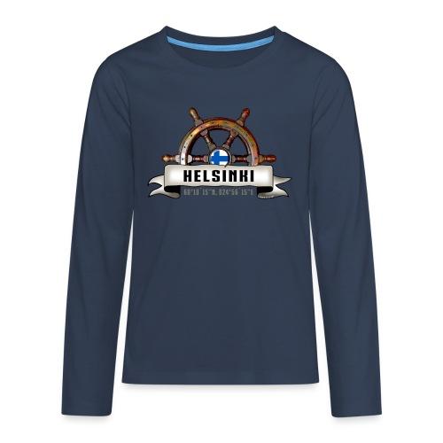 Helsinki Ruori - Merelliset tekstiilit ja lahjat - Teinien premium pitkähihainen t-paita