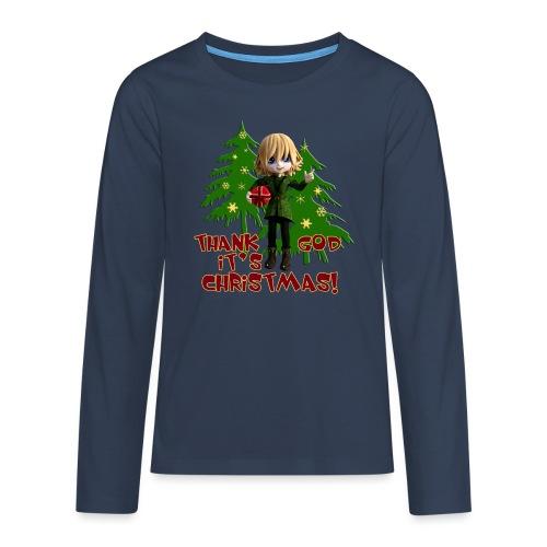 Weihnachtself Thank God it´s Christmas! - Teenager Premium Langarmshirt