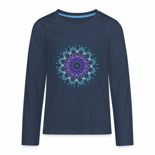 Mørk lilla mandala - Teenager premium T-shirt med lange ærmer