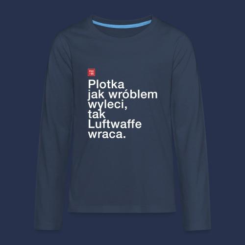 plotka - napis jasny - Koszulka Premium z długim rękawem dla nastolatków
