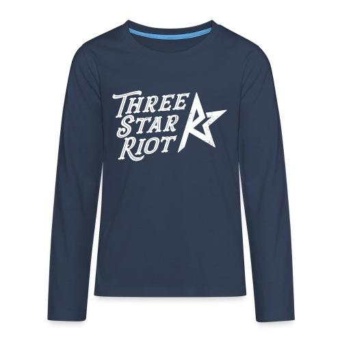Three Star Riot logo vaalea - Teinien premium pitkähihainen t-paita