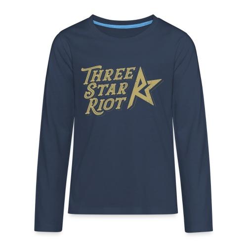 Three Star Riot logo väri - Teinien premium pitkähihainen t-paita