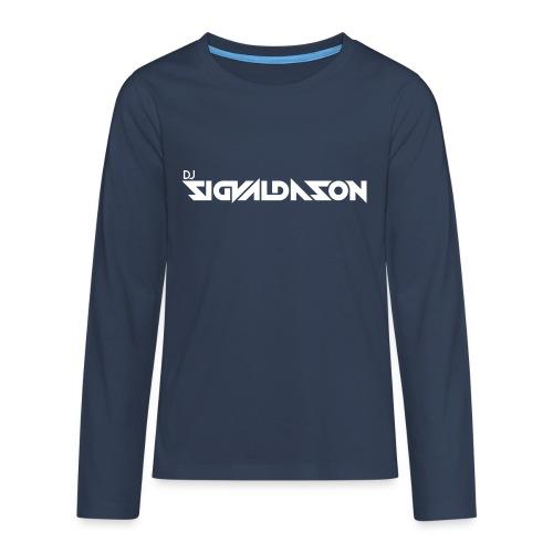 DJ logo hvid - Teenager premium T-shirt med lange ærmer