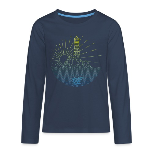 Leuchtturm mit Sonne am Meer - Teenager Premium Langarmshirt