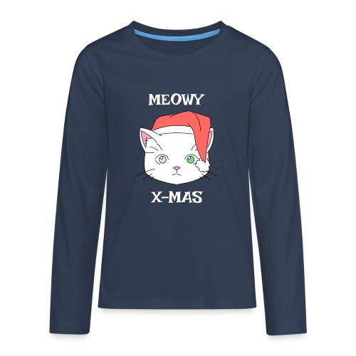 Meowy X-mas - Premium langermet T-skjorte for tenåringer