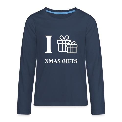 I love xmas gifts - Premium langermet T-skjorte for tenåringer