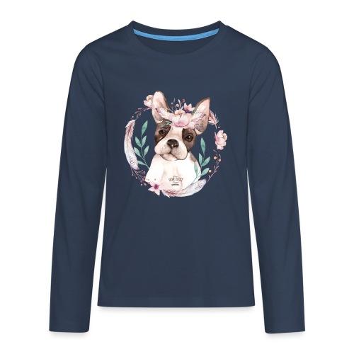 French Bully Flowers - Französische Bulldogge - Teenager Premium Langarmshirt